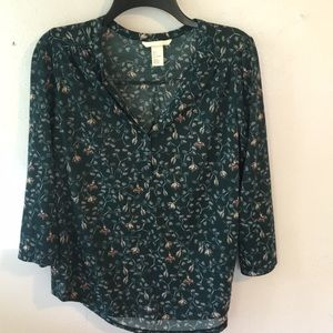 Dark green floral blouse from H&M
